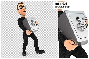 3D Thief Holding Heavy Bank Safe