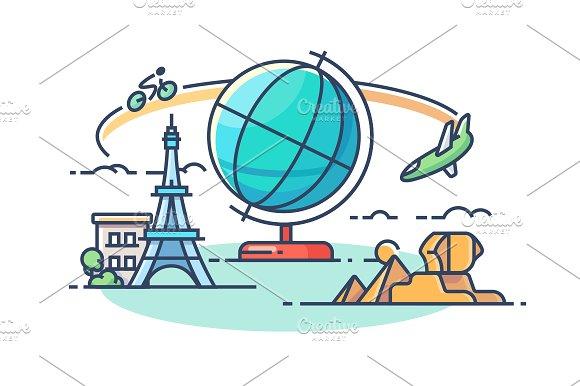 Travel around world in Illustrations
