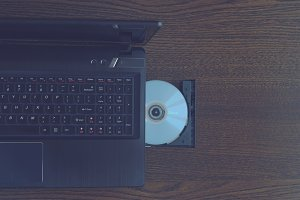 Cd inserted into a laptop