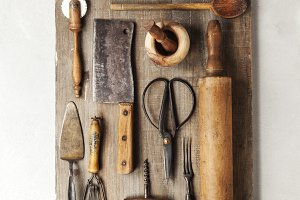 group of vintage cooking utensils