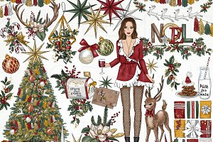 Christmas Fashion Girl Clip Art