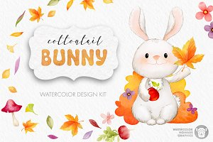 Cottontail Bunny Autumn Watercolors