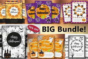 Halloween set of trendy posters.Happy Halloween collection of templates for your design of the invitation, greeting card, flyer. Vector illustration.