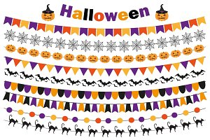 Halloween set of festive decorations flags, bunting, garland. Collection of elements for your design. Isolated on white background. Vector illustration.