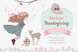 Thanksgiving Day Illustrations Set