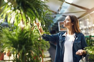 Beautiful woman shopping for plants in a home garden store. Searching for trees for her backyard.
