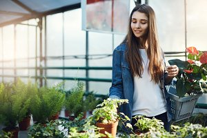 Young woman shopping for flowers and plants in a greenhouse shop.