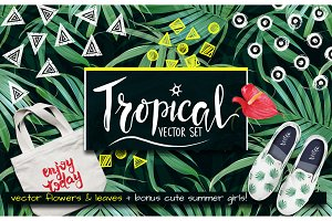 Tropical vector flower & leaves.