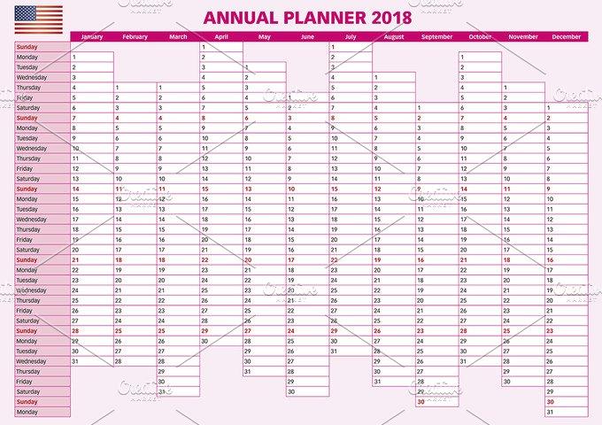 calendar 2018 year planner illustrations creative market