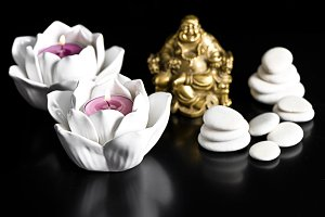 Candles, Buddha and Stones