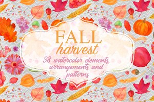 Watercolor fall harvest clipart