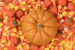Halloween treats with small pumpkin