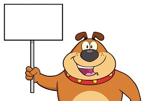 Brown Bulldog Holding A Blank Sign