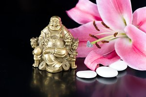 Buddha, stones and lily flower