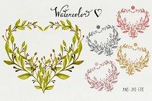 Watercolor Floral Heart #2