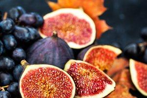Autumnal fresh ripe figs