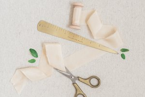 Ruler and Scissors Ivory Ribbon