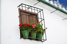 window with pots of flower, Cordoba, Andalusia