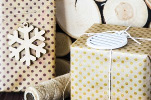browndottedboxes with gifts for winter holidays