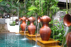 Outdoor spa area at tropical resort