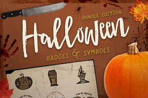 Halloween Badges Set. Bundle Edition