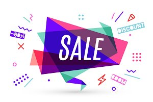 Ribbon banner with text Sale
