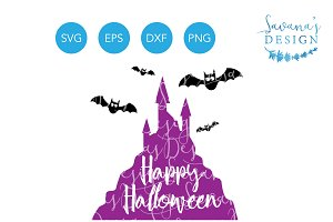 Happy Halloween SVG Castle and Bats