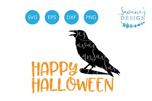 Happy Halloween SVG Raven Crow SVG