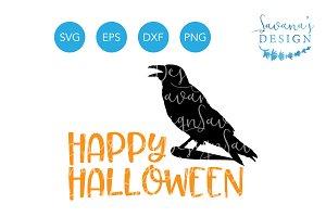 Happy Halloween SVG Raven Crow SVG