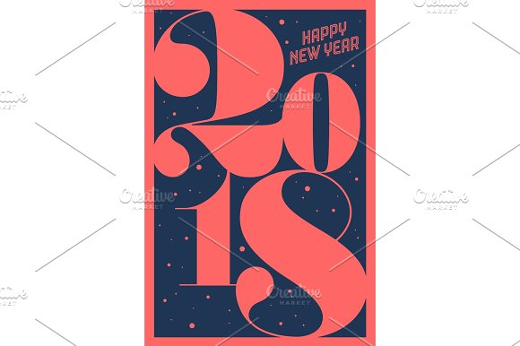 greeting card happy new year 2018 illustrations