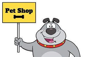 Gray Bulldog With Text Pet Shop