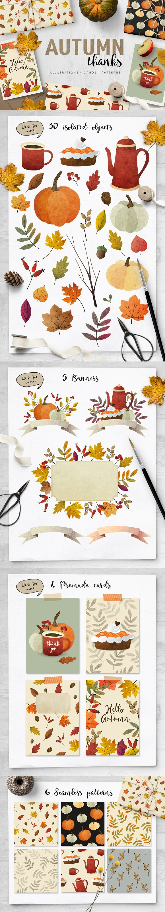 Autumn thanks illustrations, pattern