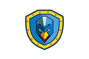 Blue Chicken Mohawk Shield Icon