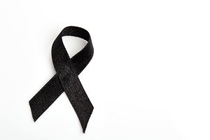 Black ribbon isolated on white