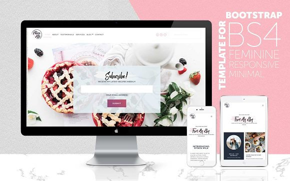 Bootstrap 4 Feminine Website Theme
