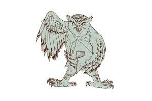 Owl Holding Spartan Helmet Drawing