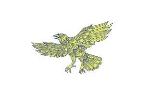 Common Raven Flying Mandala