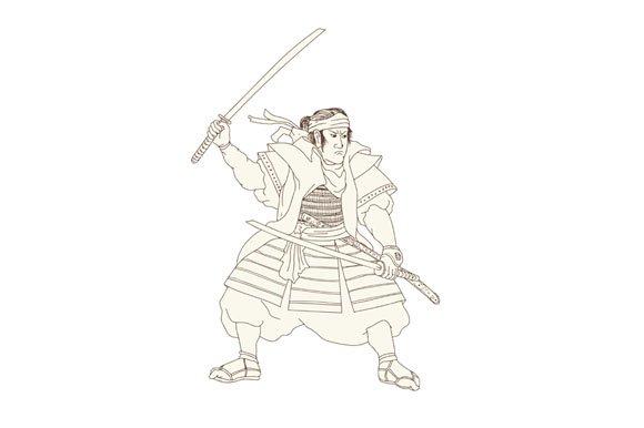 Samurai Warrior Katana Fight Stance