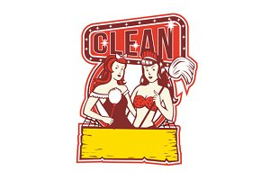 Twin Cleaners Clean 1950s Retro