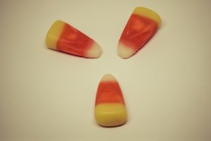 Overhead View of 3 Candy Corn Pieces