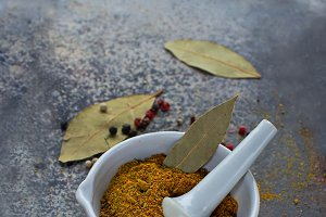 Indian spices on grunge background
