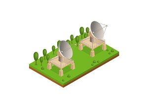 Satellite Dish Isometric