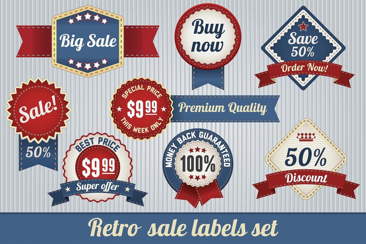 Retro Sale Labels Set