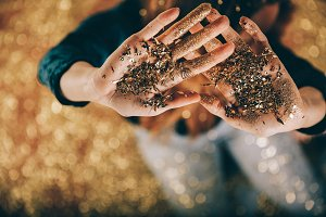 New Years Eve hands and glitter