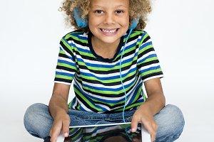 Young boy studio portrait