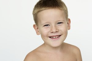 Young boy studio portrait