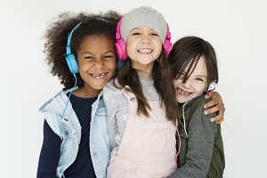 Diverse girls friends isolated