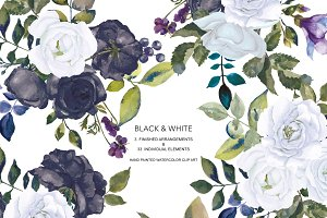 Watercolor Black White Roses Clipart