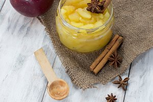 Apple jam in a jar