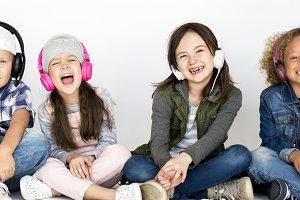 Diverse kids fun together